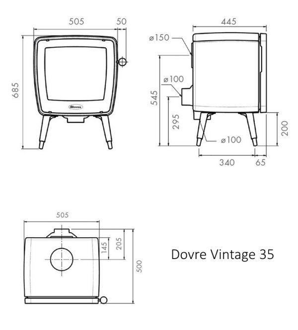 Dovre vintage 35 tech drawing - dimensions