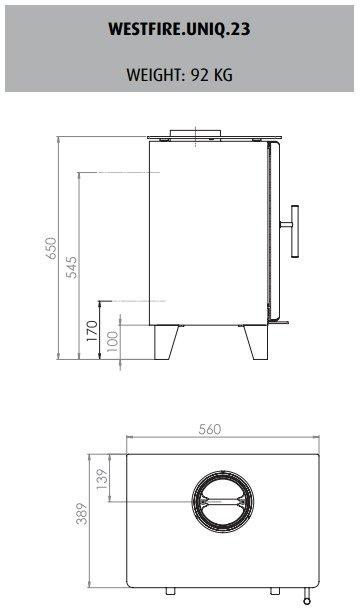 Westfire uniq 23 drawing and dimensions