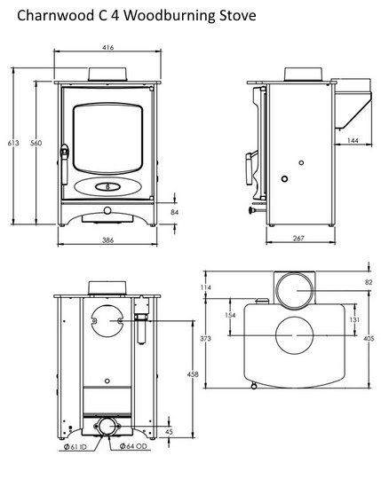Charnwood C 4 woodburning stove line drawing dimensions