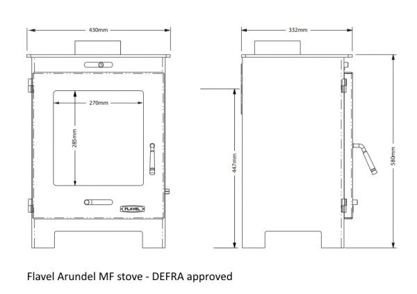 Flavel Arundel MF Defra approved dimensions drawing