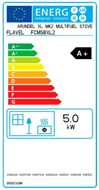 Flavel Arundel XL 5kw DEFRA stove energy label