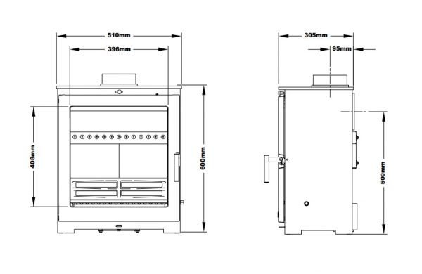 Flavel Arundel XL 5kw DEFRA stove dimensions line drawing