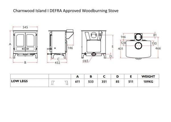 charnwood island 1 line drawing dimensions