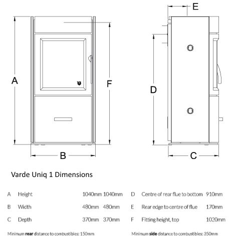 Varde Uniq 1 Line drawing and dimensions