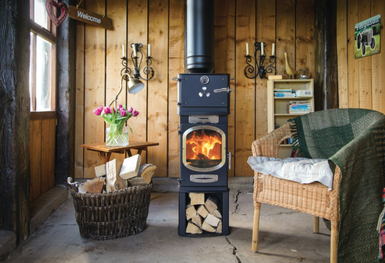 Adventurer 5 wood burning stove in man cave or shed